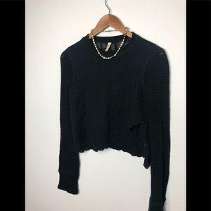 Free People Crochet Crop Sweater